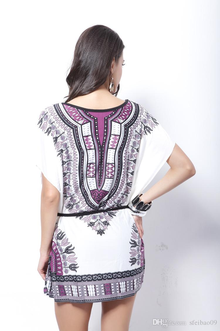 Women Beach Bohemia Dress Silk Totem Ethnic Print O Neck Short Sleeve Loose Casual Plus Size One Size Fits M- 3XL Summer Fashion Clothes