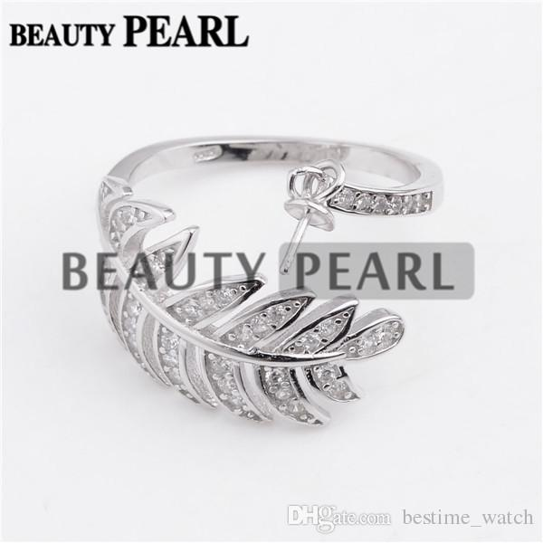 HOPEARL Jewelry 925 Sterling Silver Grand Leaves Clear Cubic Zirconia Ring Pearl Jewellery Settings 3 Pieces