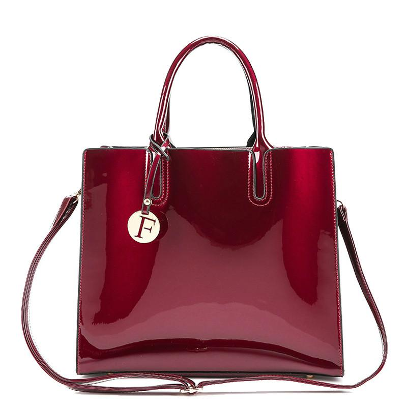 ea749832a6 Red Leather Tote Bag Handbags Women Famous Brands Lady S Lacquered Bag Red  Handbag For Women Shoulder Bag Sac Leather Bags For Men Branded Bags From  ...