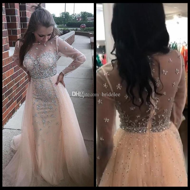 Sparkly Long Sleeves Prom Dresses Sheer Neck Illusion Bodice Crystal Beaded Tulle Over Skirt Champagne Party Dresses