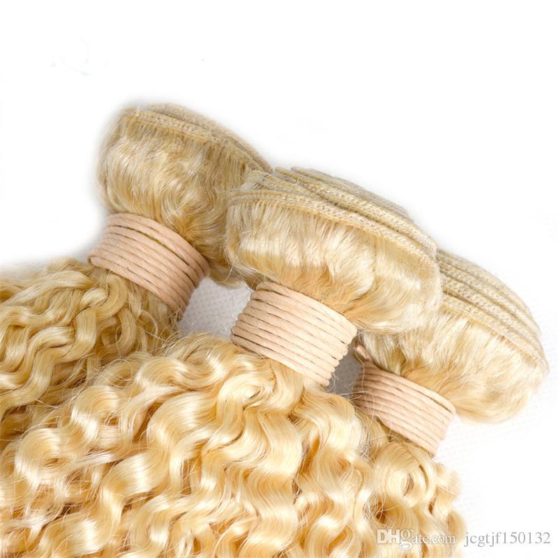 Brazilian Kinky Curly Non Remy human Hair Weft #613 long blonde Human Hair Weave hair Bundles