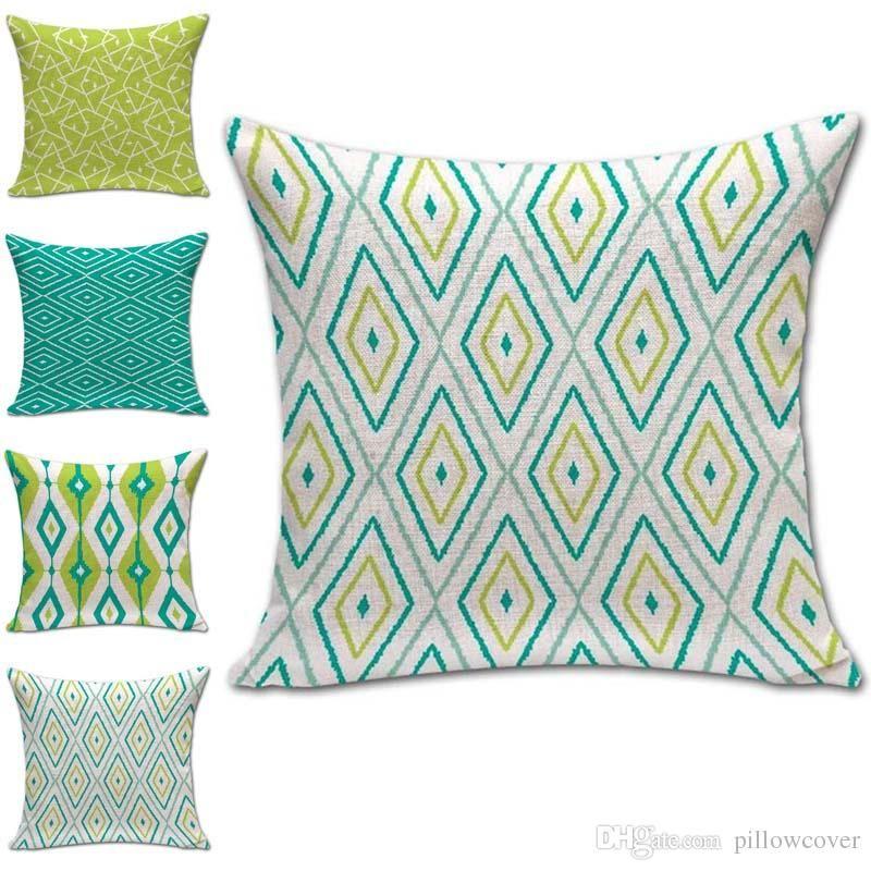 Green Stripe Diamond Pattern Pillow Case Cushion Cover Linen Cotton