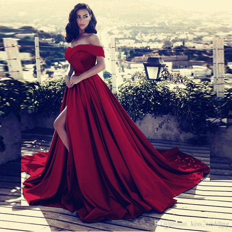 8ab26faff479 Elegant V Neck Off The Shoulder Satin Prom Dresses 2018 Dark Red Long High Split  Evening Gowns Vestidos De Fiesta Party Dress Arabic Plus Dresses Plus Size  ...