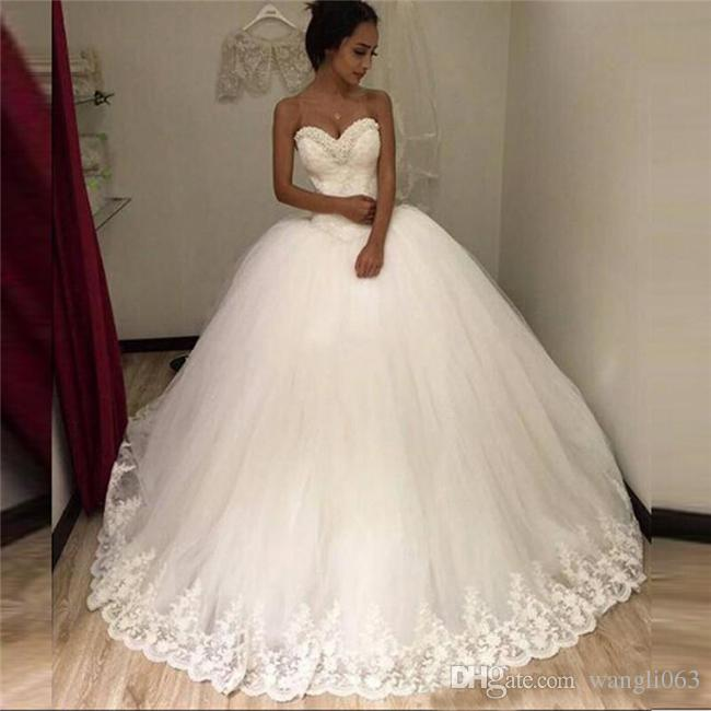 Lace Ball Gowns 2018 Wedding Dress Sweetheart Sexy Bridal Dresses Lace Appliques Tull TuTu Wedding Dresses