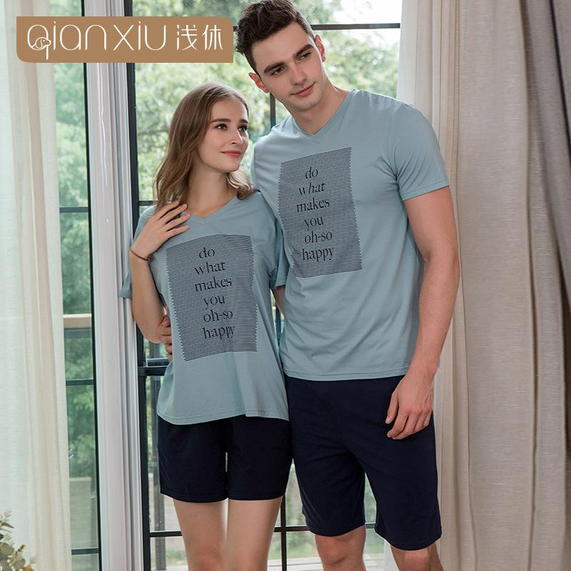 Qianxiu short men pajamas set letter printing simple plus size male sleepwear modal thin elasticity pyjamas men Lovers pajamas