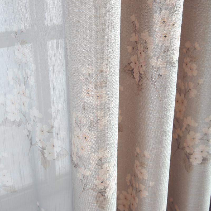 Curtain Simple Modern New Chinese Style Fresh Plum Living Room Bedroom  Blackout Curtains American Country