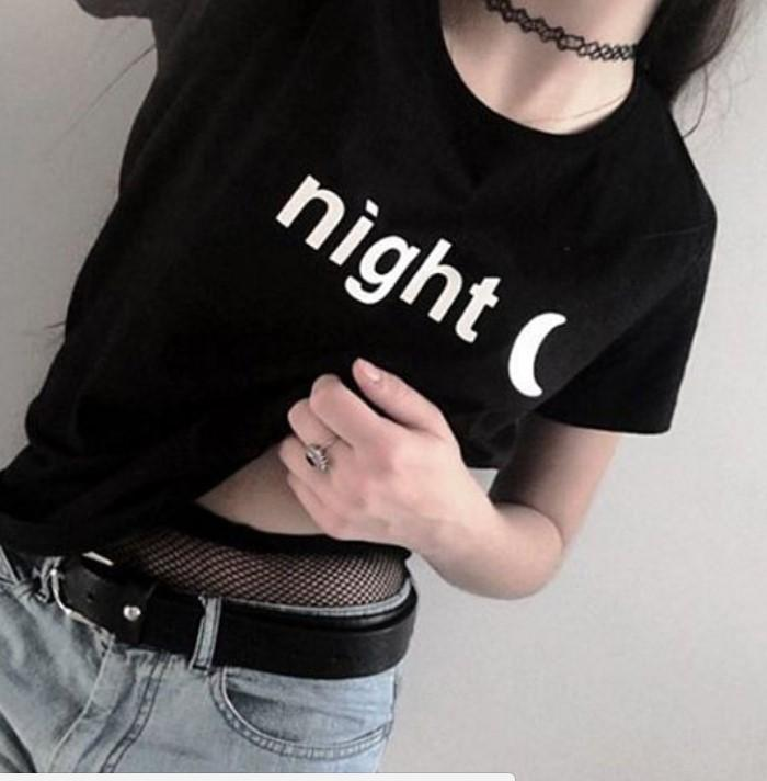 022aa3c4b0c Night Moon Women Black T Shirts Harajuku Casual Loose Plus Size Summer Graphic  Tees Tumblr Tops Sexy Streetwear Clothing Shirts Cool Crazy Design Shirts  ...