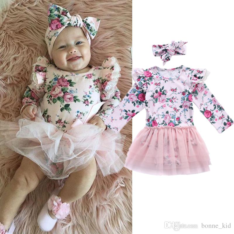 6c0a5bfa59fa 2019 Baby Girl Pink Floral Romper Lace Tutu Dress With Headband Long Sleeve  Spring Autumn Cute Baby Girls Clothes Toddler Dresses Outfit 0 24M From ...