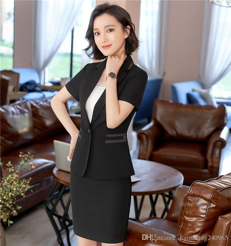 Fashion women Black blazer Business New summer formal V Neck short sleeve jackets office ladies plus size work wear black