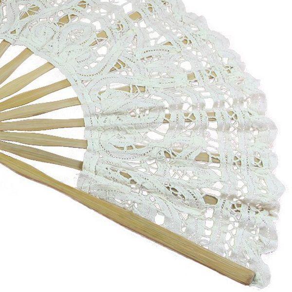 Ventilador de mano plegable de encaje de algodón hecho a mano TFBC para decoración de boda nupcial fiesta blanco