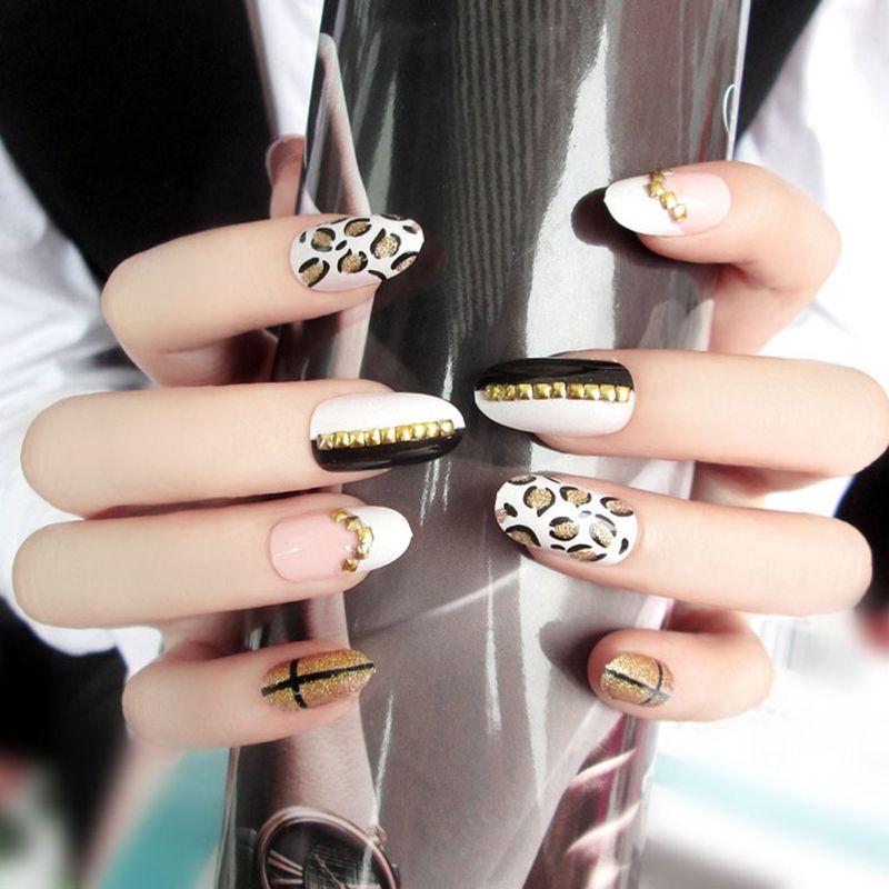 24pcs Leopard Fake Nails Art Tips Acrylic Nail False Full Cover Manicure  Decor