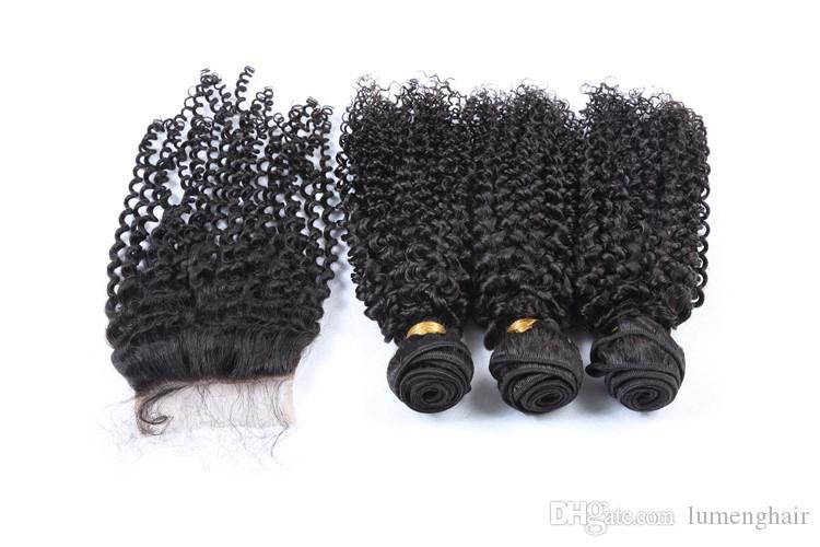 Kinky Curly Hair Bundles with Closure 100% Human Hair Bundles 100g/pc Non Remy Hair Extensions Weaving Can Be Dyed