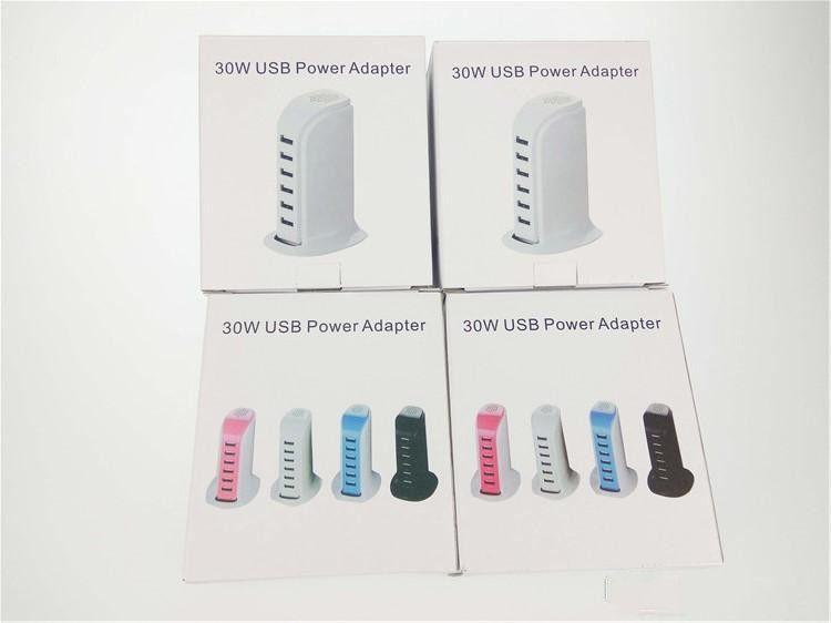 2018 6 портов USB Multi порт зарядки настольных многофункциональных настенных быстрое зарядное устройство станции адаптер переменного тока с розничной коробке DHL FEDEX