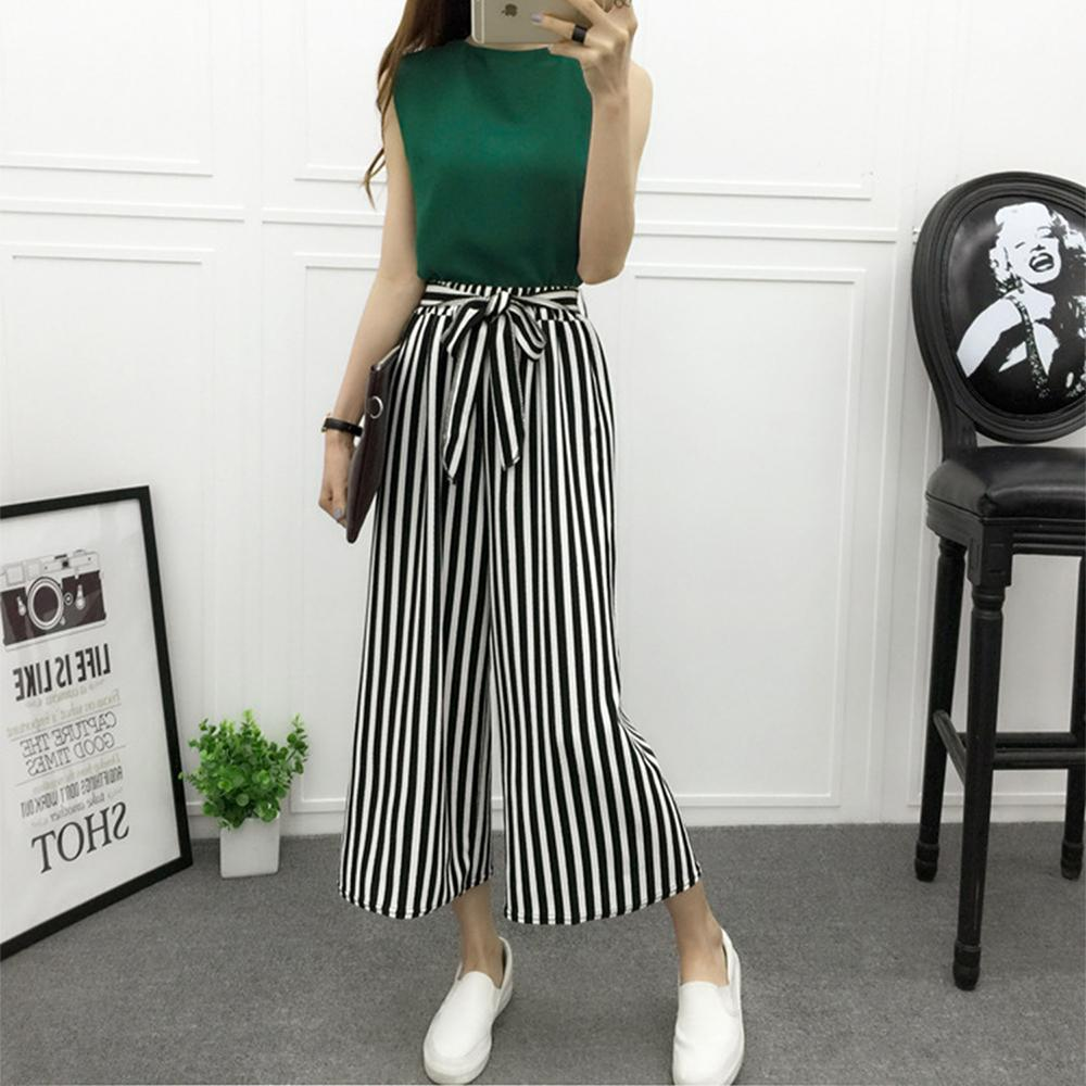 05e58dc214a8 2019 2018 Fashion Summer Wide Leg Pants Women High Waist Plaid Striped Loose  Palazzo Pants Elegant Office Ladies Trousers Spring New From Cashmere52