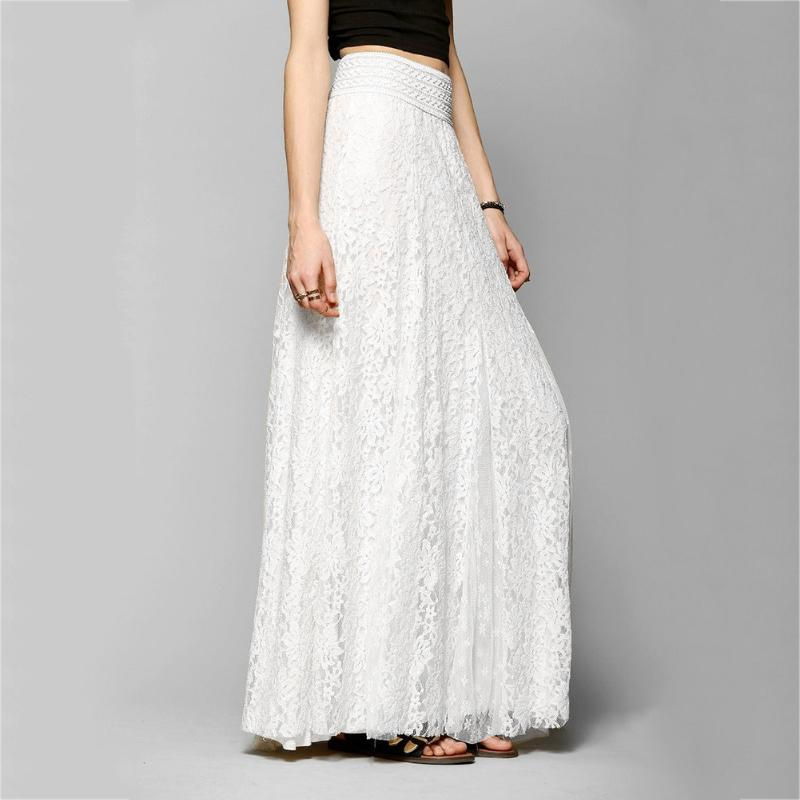 add448ce3 Falda Puffy Larga de Encaje de Las Mujeres Falda Plisada Maxi Verano  Elegante Elástico de Cintura Alta Faldas Puffy Largas Partido Peplum Blanco