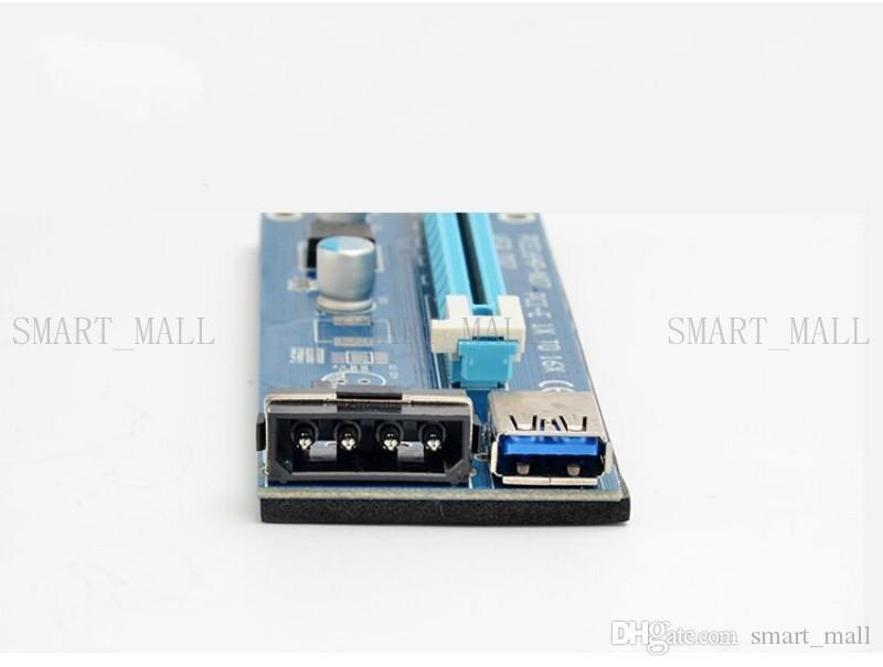 Ver006 For Bitcoin Miner Riser PCI-E PCI-E Express 1X to 16X Graphics Card Riser USB 3.0 SATA to 4 Pin Power Cabe Supply 60cm Latest
