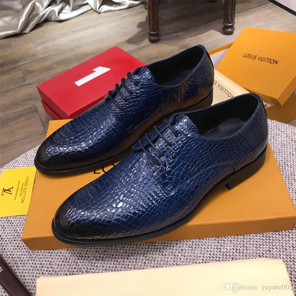 Formels Véritable Hommes De Avec Italienne Mens Chaussures Luxe Cuir En 2018 Robe Boîte Marque Mocassins gI6Yf7bymv