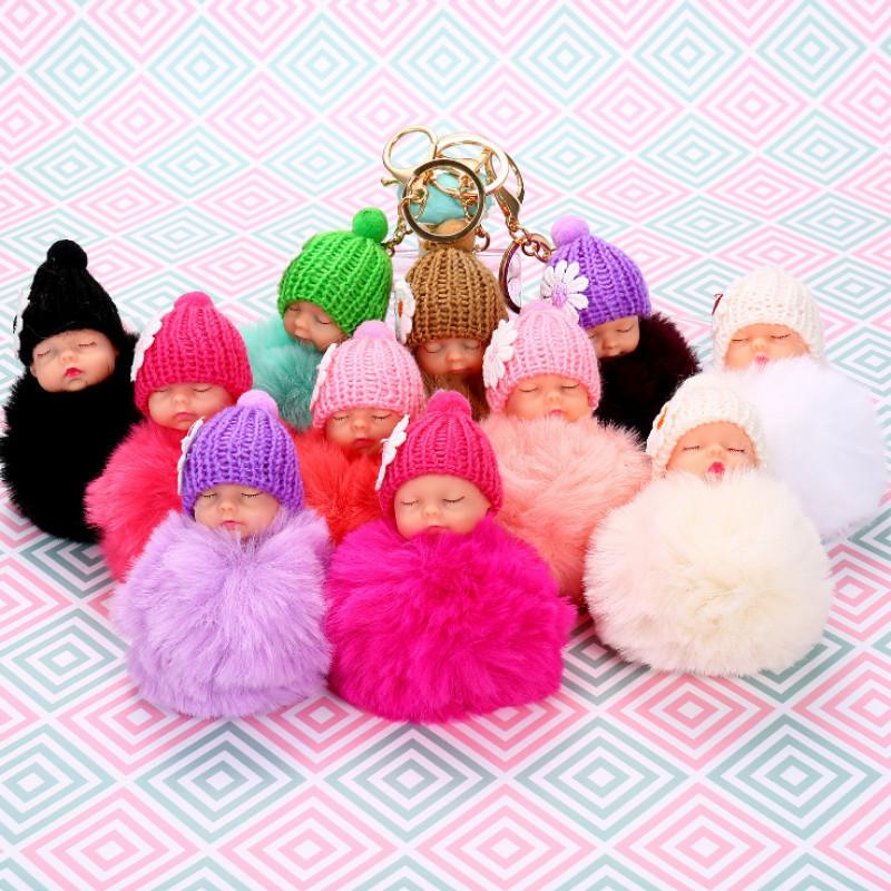 2019 Hot Sweet Fluffy Pompom Sleeping Baby Key Chain Faux Rabbit Fur Pom  Pon Knitted Hat Baby Doll Keychain Car Keyring Toy Trendy Gifts From  Kittyshaw 2018 ... b77ac2e6f38a