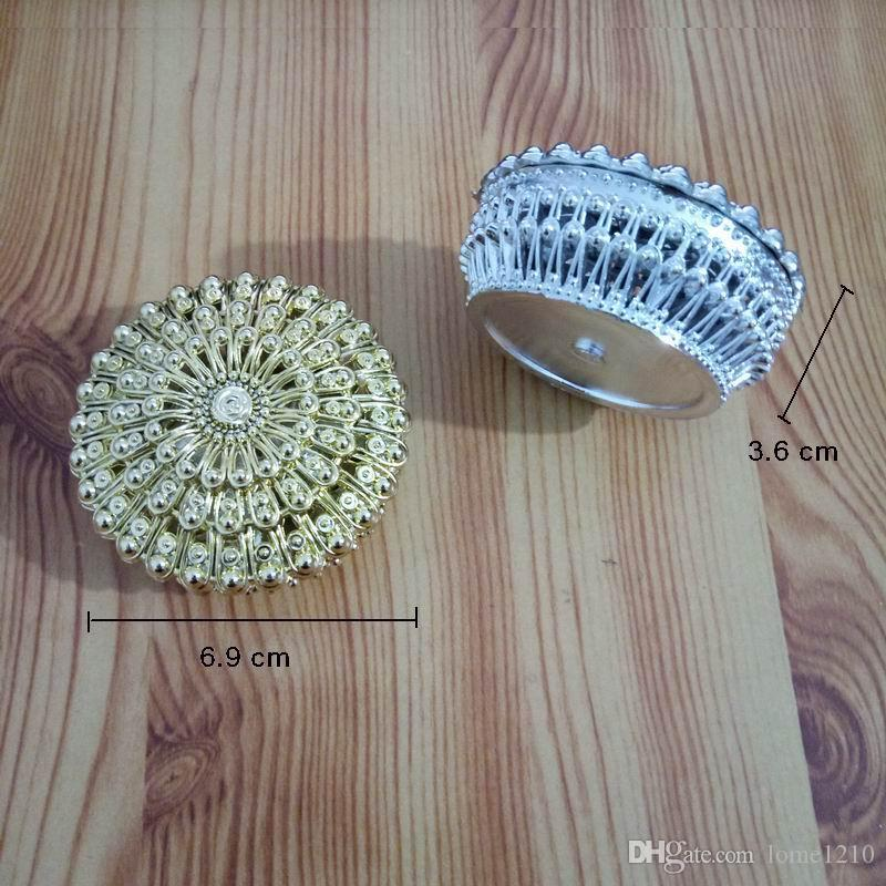 Luxury Golden Silver Peacock Round Candy Box Treasure Chest Wedding Favor Box Party Supplies