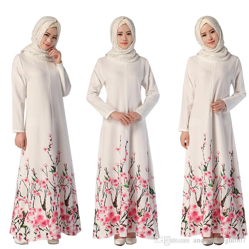 Müslüman Bayan Abaya Elbise O-Boyun Uzun Kollu Kat-Uzunluk Gevşek Çiçek Baskılı İslam Jilbab Hijab Kaftan Bayan Etnik Giyim DK729MZ
