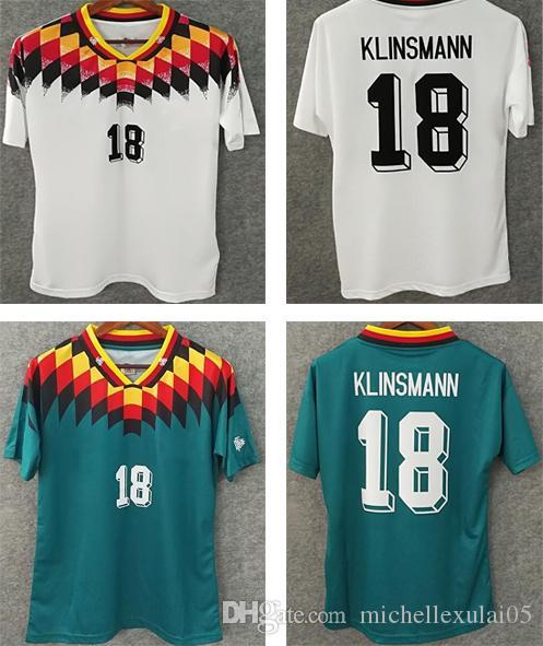 da9f31732 Compre 1994 Deutschland Home Branco Retro Jerseys KLINSMANN Longe Verde  Camisa De Futebol Do Vintage Um +++ Thai Qualidade Tops De Futebol Shorts  De Manga ...