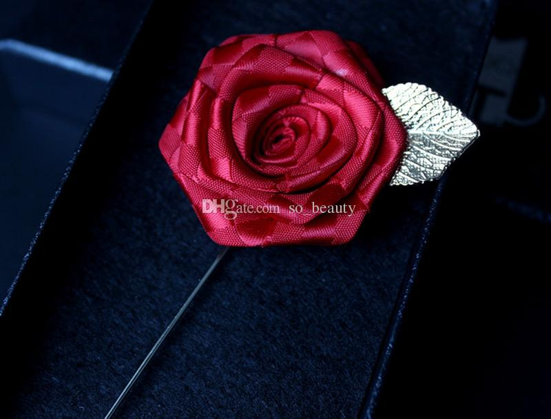 Rose Corsage Groom Brooch Pin Golden Leaf Man Wedding Satin Flowers Boutonniere Prom Tuxedo Party Accessories Decorations Multi colors