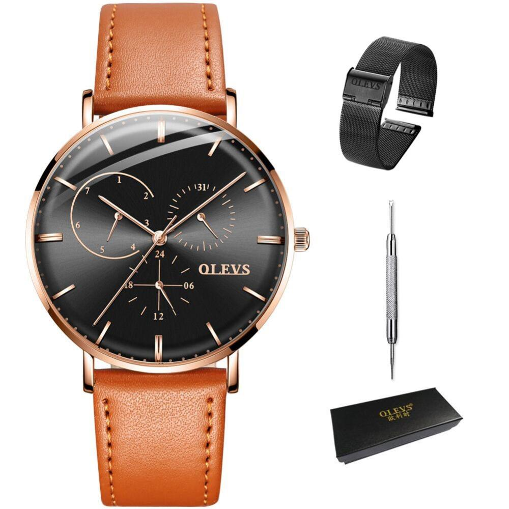 be3808c55 Horloges Mannen OLEVS Fashion Quartz Mens Watch Week Leather Watches For Men  Ultra Thin Waterproof Male Watches Date Clock Man Buy Cheap Watches Cheap  Wrist ...