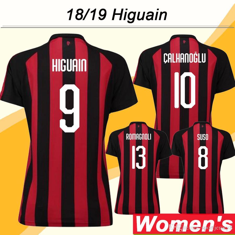 2018 19 Milan Women Soccer Jerseys HIGUAIN CALHANOGLU SUSO Inicio Terceras  Camisetas De Fútbol ANDRE SILVA CALHANOGLU RODRIGUEZ Uniformes De Dama  Cortos Por ... bff65cecedbdd