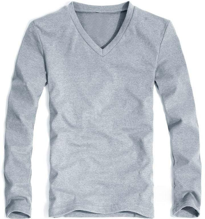 Lycra cotton men 's long sleeve v neck t shirt men v-neck long sleeve T-shirt