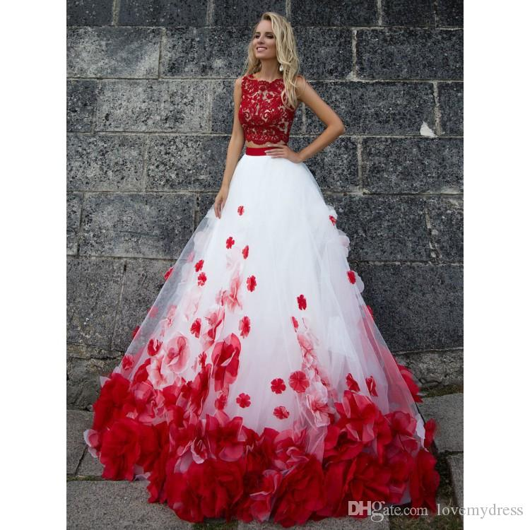 eb5c3ae54e8b6 Stunning Red And White Floral Flowers Prom Dresses A line Tulle Two Pieces  Lace Applique Hollow Back Beads Dresses Evening Party Formal Gown