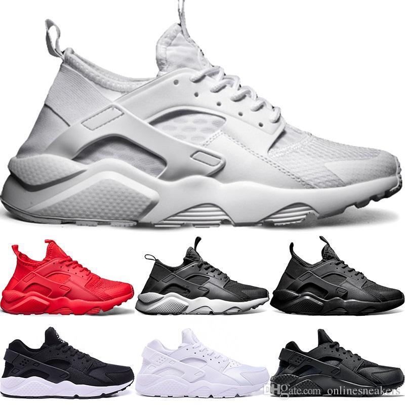 a4f0241725ddb Acheter Nike Air Huarache Ultra Chaussures De Course 4.0 1.0 Hommes Femmes  Triple White Core Noir Rouge Huaraches Pas Cher Hommes Sport Sneaker Taille  5.5 ...