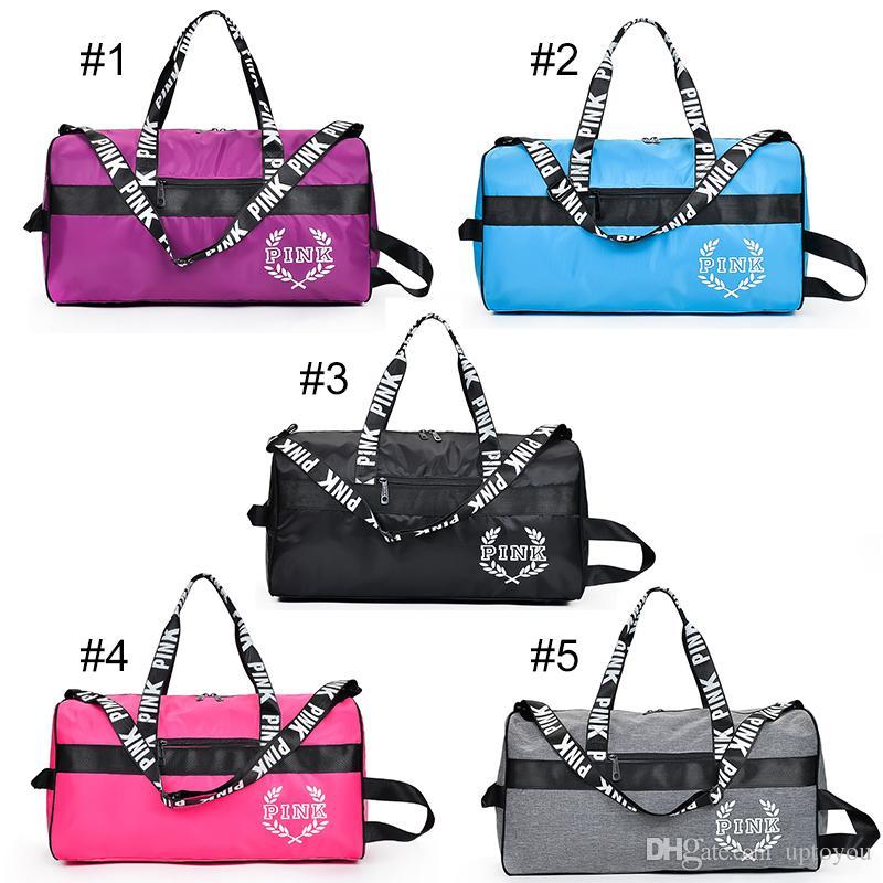 Fashion PINK Duffle Gym Travel Weekender Bag Tote Pink Letter Printed Large  Capacity Travel Sport Shoulder Handbags PINK GYM BAGS VS SPORT BAGS Pink  Letter ... d5997a526d263