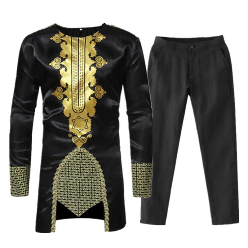 Acquista Abiti Da Uomo Africano Bazin Riche Abiti Africani Uomo Dashiki  Africa Mens Set Abbigliamento Camicie Top Pantaloni Ropa Africana Hombre A   71.94 ... dbeb941dc3f
