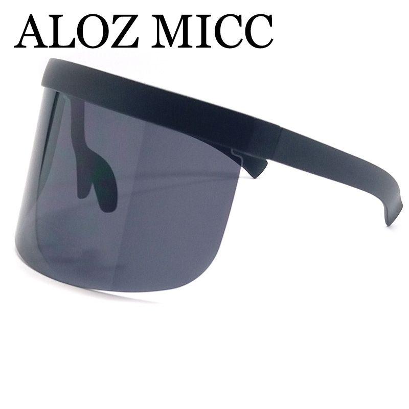 1ac7d932f2 ALOZ MICC Luxury Oversize Shield Visor Sunglasses Women Men Unique Rimless  Vintage Men Flat Top Shades Color Eyewear UV400 A389 Sunglasses Uk  Polarised ...