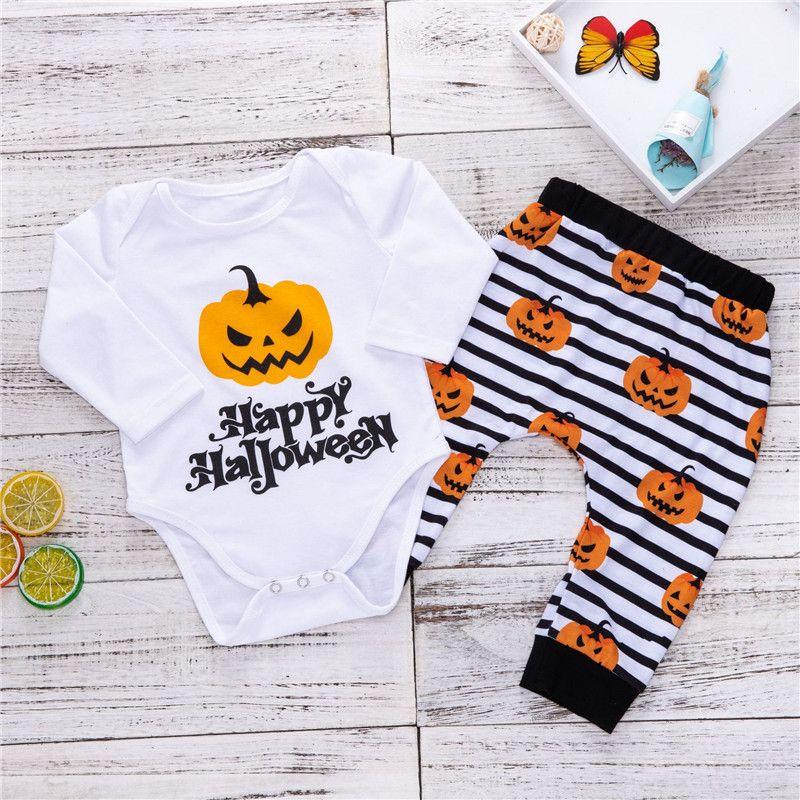 4112792f2073 2019 Baby Halloween Clothing Set Letter Print Long Sleeve Bodysuit ...