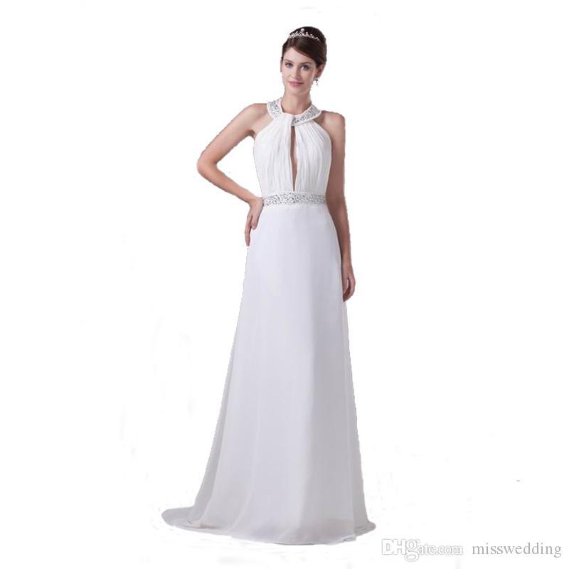 Großhandel Späteste Weiße Chiffon A Line Brautkleid Perlen ...