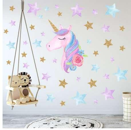 Cartoon Cute Unicorns Star Heart Wall Stickers Wallpaper DIY Vinyl ...