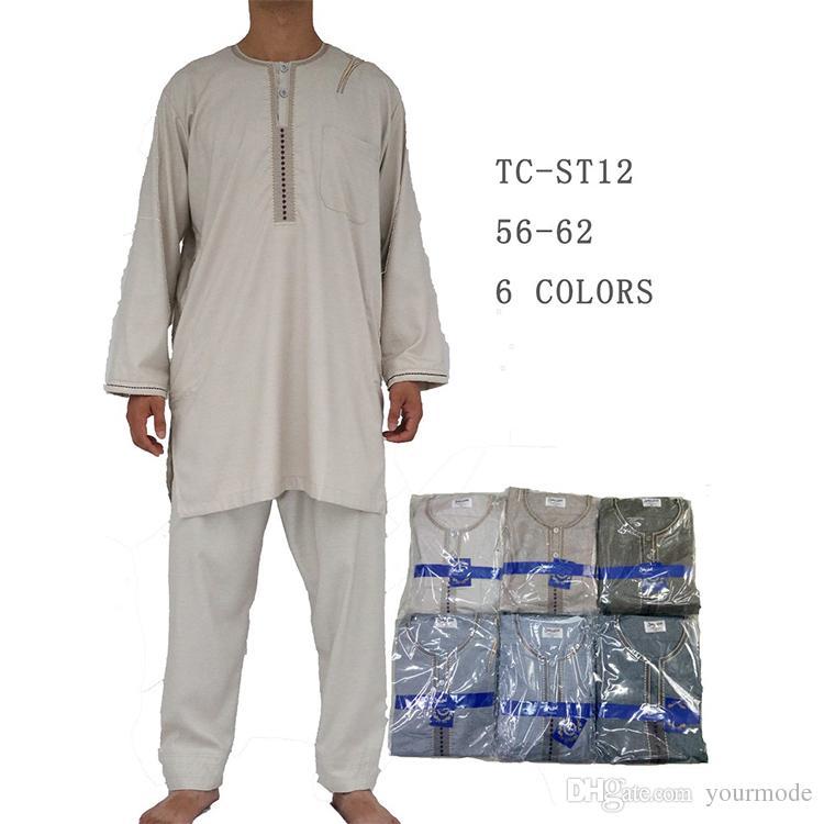 2019 Wholesale Mens Clothing Tops And Pants Jubah Muslimah Men Thobe