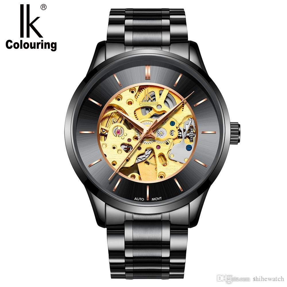 938e623a407 Compre 2018 IK Coloração K004 Homens Esqueleto Mecânico Masculino Relógio  De Pulso Genuine Cinta De Aço Inoxidável 5ATM À Prova D  Água Relógios De  Pulso ...