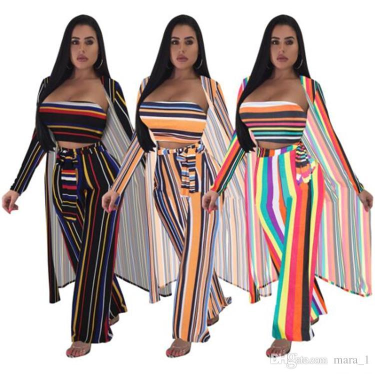 5f134db197420 Compre Mujeres Capa + Sujetador + Pantalones 3 Piezas Conjunto Rayas Camisa  Larga + Abrigo Del Pecho + Pantalones De Pierna Ancha Casual Chándal  Diseñador ...