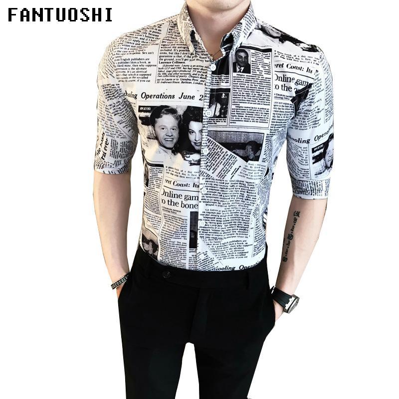 b8dd96e1 2019 2018 New Summer Printed Newspaper Shirt Male Casual Shirts High  Quality Hawaiian Shirts Cotton Men Short Sleeve From Feixianke, $29.19 |  DHgate.Com