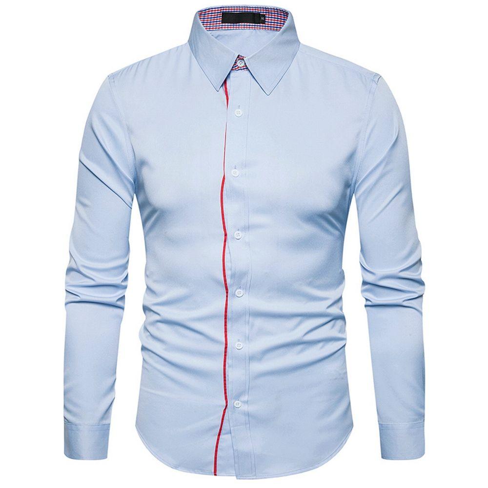 bbf00eab49 Camicia da uomo di marca 2018 Fashion Covered Edge Design Camicie da uomo  Camicie casual Camicia manica lunga Slim Fit Camicie Uomo Chemise Homme
