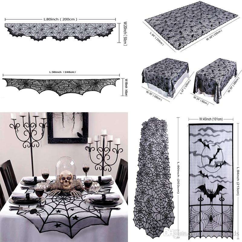 Halloween Party Decoration Black Lace Spiderweb Tablecloth Horror Props Spider Web Fireplace Mantle Scarf Cover Festive Supplies Hot Sell 40th Birthday