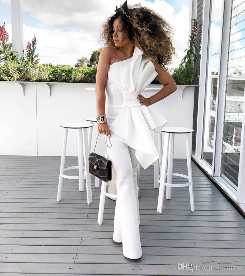 2019 Yeni Bağbozumu Beyaz Kadın Tulum Gelinlik Büyük Yay Ile Bir Omuz Örgün Parti Abiye giyim Custom Made Özel Durum Elbise
