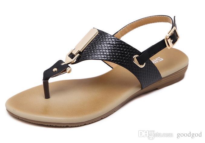 0437c10a21779a New Summer Women Wedge Sandals Shoes Woman Metal Decoration Buckle Flip Flip  Beach Sandals Plus Size 35-41 Black Apricot Online with  26.95 Piece on ...