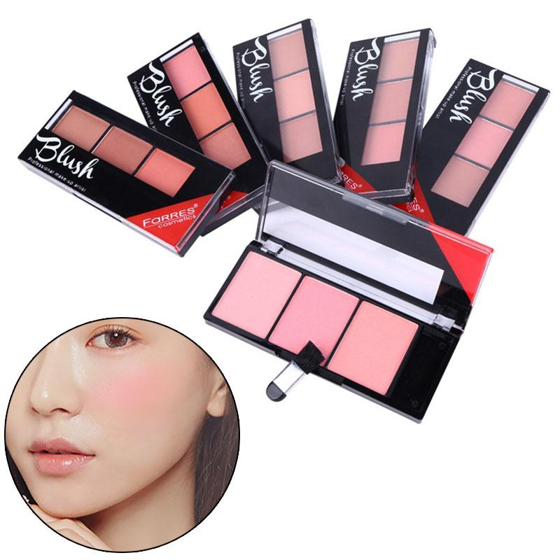 H 3 Colors Natural Long-lasting Blusher Powder Palette Shimmer Highlighter Blush Cheek Makeup Tool High Quality Blush 88
