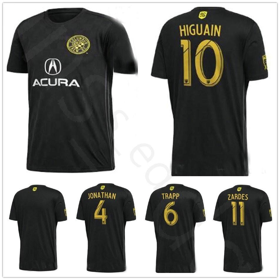 281032843 2019 2018 2019 Player Version Columbus SC Soccer Jersey 11 ZARDES 10  HIGUAIN 4 JONATHAN 6 TRAPP Custom Home Black 18 19 Football Shirt From  Fans edge