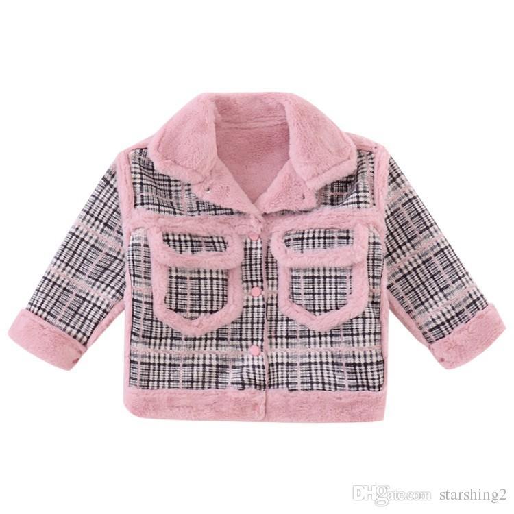 e86de9398 New Winter 2018 Korean Style Girls Jackets Kids Velvet Thickening ...