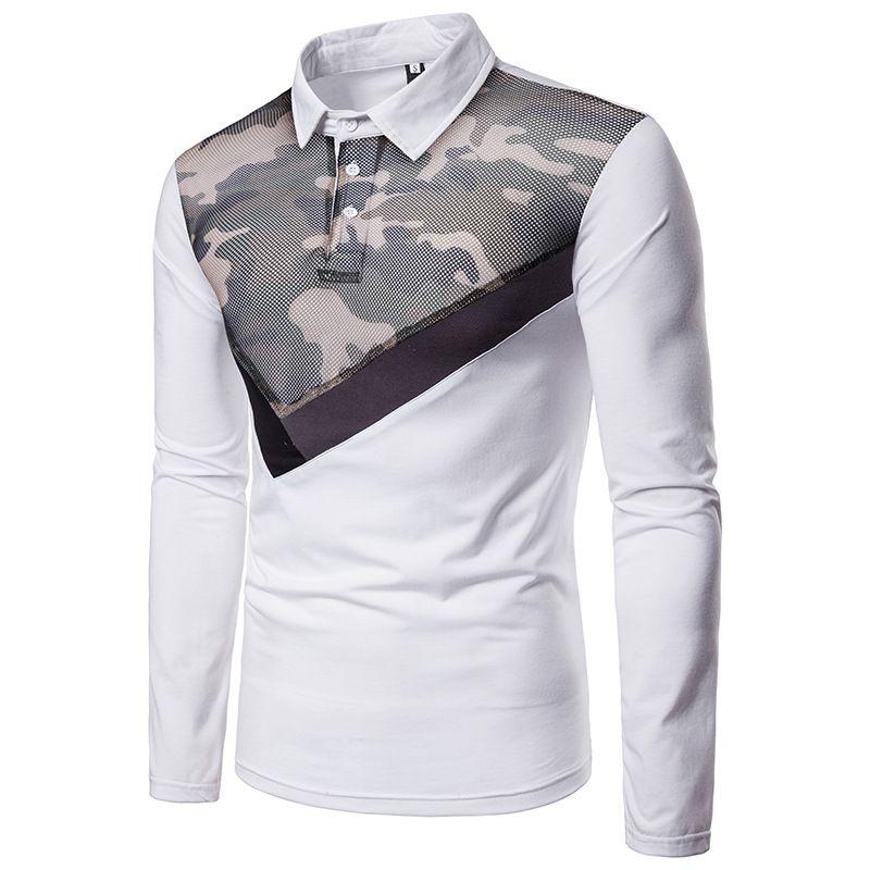 Compre Nueva Marca Polos Para Hombre De Camuflaje Estampado Costura POLO  Camisas De Algodón De Manga Larga Camisas Polo Casual Stand Cuello Para  Hombre De ... 8f2e2f240f15b
