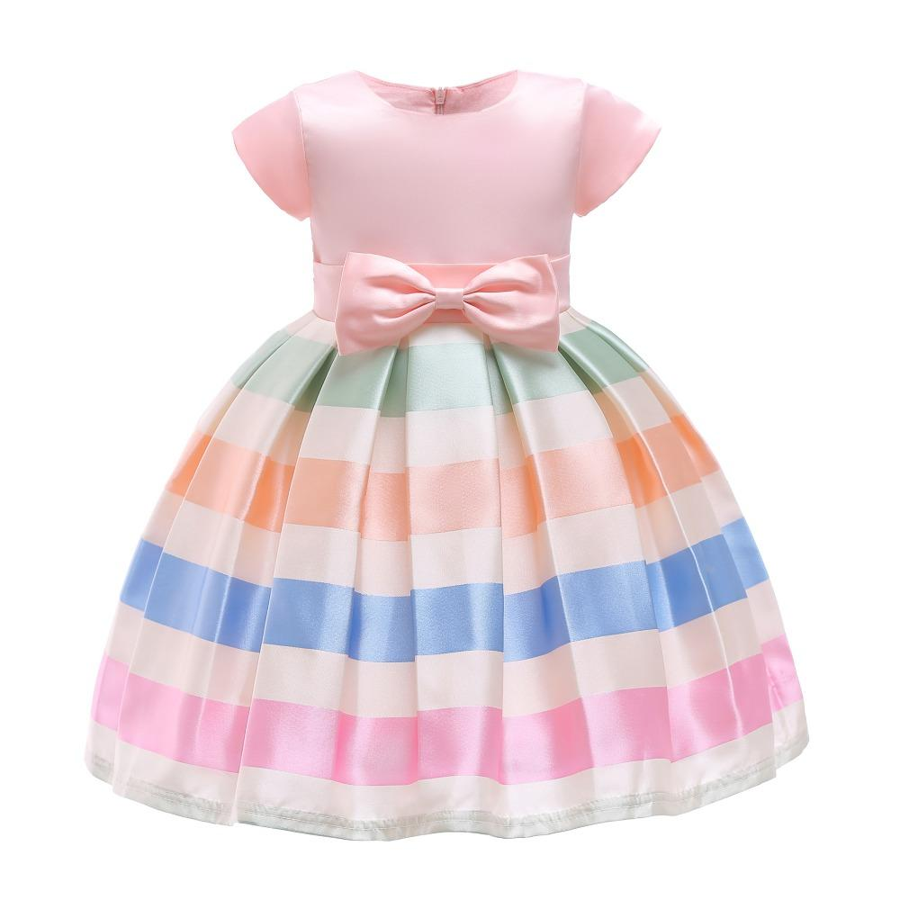 1649e5996818 Compre Vestido De Niñas Vestido De Verano Con Raya Fiesta De Princesa  Vestidos Ropa De Niños Tutú De Boda Bebé Niña Ropa 2 3 4 5 6 7 8 9 10 Años  A $74.36 ...